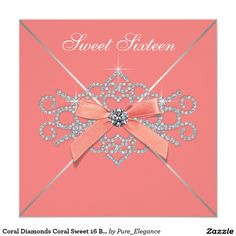 Coral Diamonds Coral Sweet 16 Birthday Party 5.25x5.25 Square Paper Invitation Card