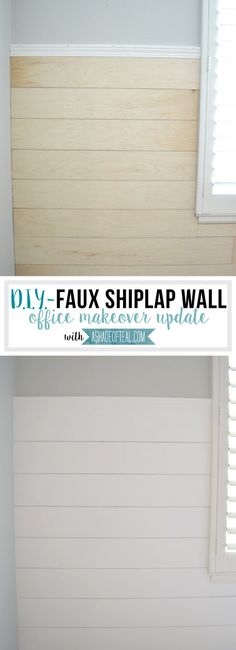 DIY- Faux Shiplap Wall A Shade Of Teal. Shiplap to go up a little over half the wall. I ended up buying 2 large under-layment panels at Lowe's and had them rip them into wide strips. Home Renovation, Home Remodeling, Remodeling Contractors, Diy Interior, Do It Yourself Design, Faux Shiplap, Shiplap Diy, Installing Shiplap, Faux Wood Beams