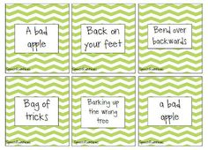 Idiom cards (free download) as a companion to the StoryLines (free) app!