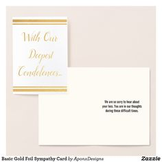 Shop Basic Gold Foil Sympathy Card created by AponxDesigns. Paper Envelopes, White Envelopes, Condolences, Colored Paper, Sympathy Cards, Gold Foil, Place Card Holders, Silver, Crafts