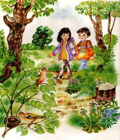 Country Scenes, Kindergarten, Christmas Tree, Clip Art, Children, Gallery, Spring, Painting, Fictional Characters