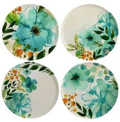 Margaret Berg Art: Teal Painterly Plate Set