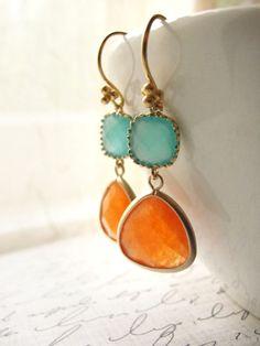 Orange and pale blue gold earrings  orange blue  by OliveYewJewels, $39.00