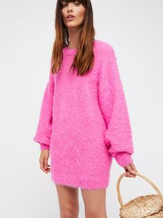 It Girl Pullover by Free People. Simple, oversized pullover with a relaxed feel featuring a fuzzy design. Oversized Sweater Outfit, Sweater Outfits, Pink Sweater, Boho Fashion, Autumn Fashion, Outfit Combinations, Casual Dresses, Casual Outfits, Sweaters For Women