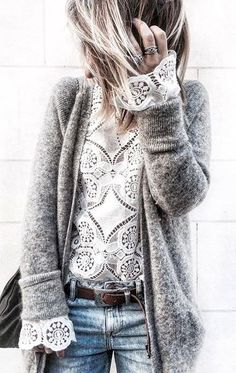 how to style a grey cashmere cardi : white lace top + bag + jeans