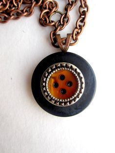 Blood Red Bordered Button Pendant by Untimed on Etsy, $17.00