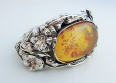 Sterling Amber Floral Bracelet Hand Wrought by LadyandLibrarian