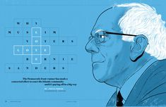 great opening spread to a feature on Bernie Sanders, combining a creative type solution to the feature's title with a large, graphic illustration. Nice use of color with white and black as well. Art Director, Creative Director, Photo Illustration, Graphic Illustration, Layout Design, Print Design, Graphic Design, Magazine Spreads, Wilhelmina Models