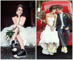 bride in converse...fun for garter belt take off!!  :)  But I think I want heels for the ceremony...tripping hazard and all!!