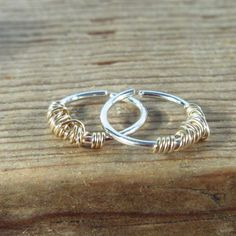 Hoop Earrings Silver with Gold Tangled Endless