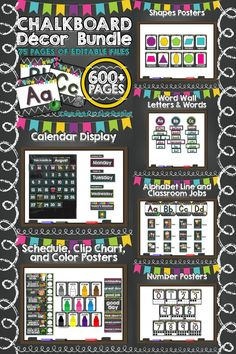New teacher? Need a change of scenery?  EVERYTHING you need is included in this 600+ page resource of pre-made and editable classroom decor files with a colorful chalkboard theme!