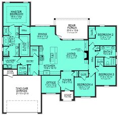 European Style House Plan - 4 Beds 2.5 Baths 2380 Sq/Ft Plan #430-129 Floor Plan - Main Floor Plan - Houseplans.com