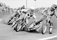 Martin Ashby, Peter Collins and Barry Briggs. 1974 at Leicester Stadium