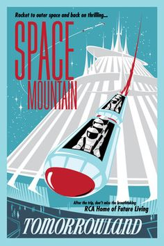 Vintage Disney Collector's Poster Tomorrowland Space Mountain