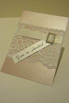 Pink and Ivory Vintage Lace Wedding by StunningStationery on Etsy, $400.00