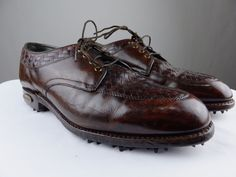Footjoy Classics Braided Golf 57353 Leather Brown Vintage Shoe Men 7.5 C Narrow #FootJoy