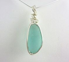 Elegant aqua  sea glass necklace on sterling by Monterey Bay Seaglass