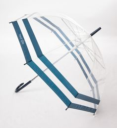 Get ready to withstand sun-showers, light rain and down pours - in style!  Delightful kids umbrella by Australian designer kids range, French Soda! This clear umbrella features nautical navy blue stripes and an easy push button - perfect for little hands to open and close.