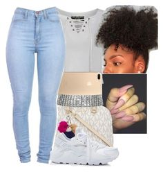 """  .."" by aaleeyahxpetty ❤ liked on Polyvore featuring Pilot, MICHAEL Michael Kors, Nine West and NIKE"
