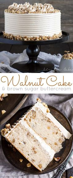 This toasted walnut cake with brown sugar buttercream is the perfect cake for the holidays. Frosting Recipes, Cupcake Recipes, Dessert Recipes, Cupcakes, Cupcake Cakes, Just Desserts, Delicious Desserts, Classic Cake, Let Them Eat Cake