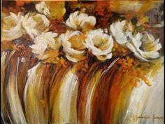Sinfonia de flores blancas - flores asbtractas con acrilico y espatula