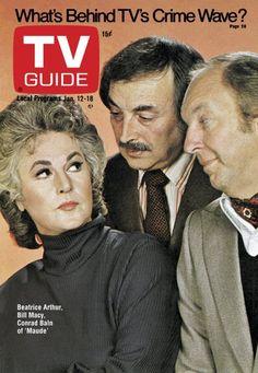 TV Guide January 12, 1974 - Beatrice Arthur, Bill Macy and Conrad Bain of Maude.