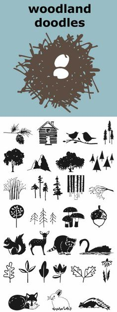 An eye-pleasing collection of 31 Woodland Doodles. Illustrations of 11 trees--traditional and contemporary. A branch, animals, cabin, acorn, flower, leaves, mushrooms, bird's nest, pine cone and birds on a branch. This font coordinates nicely with Lake Vacation Doodles and Farm Doodles.