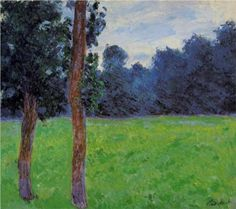 Two Trees in a Meadow - Claude Monet