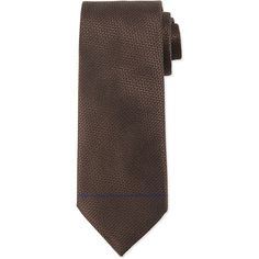 Ermenegildo Zegna Textured Solid Silk Tie (€92) ❤ liked on Polyvore featuring men's fashion, men's accessories, men's neckwear, ties and brown