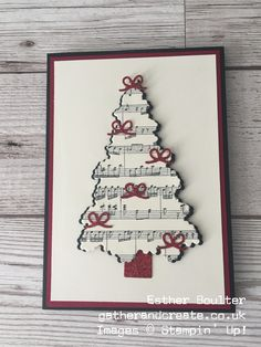 Esther Boulter - Gather and Create Christmas Card using Stampin' Up! Ready for Christmas Bundle One of the things I love about creative people is that everyone has their own style. Out of my crafting friends I can usually pick Create Christmas Cards, Christmas Card Crafts, Homemade Christmas Cards, Christmas Tree Cards, Stampin Up Christmas, Christmas Art, Christmas Projects, Handmade Christmas, Holiday Cards