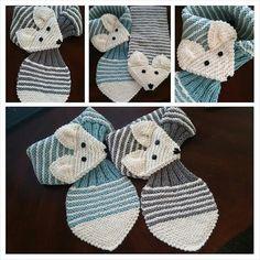 KIDS Adjustable Stripe Fox Scarf Hand Knit scarf by QuiltNCrochet