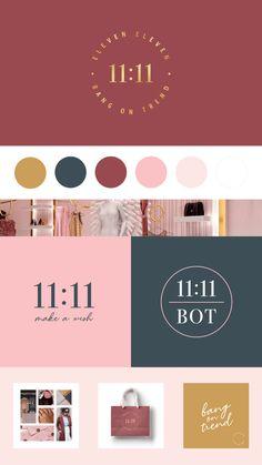 Brand Identity & Web Design For 11:11 BOT (Bang on Trend) • Catching Dreams Design Brand Identity Design, Graphic Design Branding, Graphic Design Posters, Web Design Projects, Design Tutorials, Logo Design Tutorial, Pop Design, Brand Board, Instagram Feed