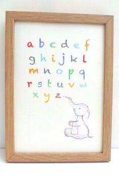 Elephant painting alphabet nursery art print by mylovebubble