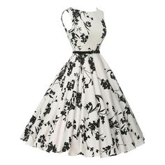 Killreal Womens Vintage Style Floral Print Spring Casual Bridesmaid Dress with Belt White/Black XLarge -- To see even more for this product, see the image web link. (This is an affiliate link). Casual Bridesmaid Dresses, Casual Party Dresses, Punk Dress, Dress Girl, Vestidos Retro, Vintage Gowns, Black Women Fashion, Retro Dress, Vintage Fashion