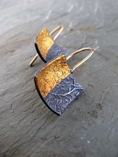 Gold Coral Hooks - Luxe Coral Gold and Silver Earrings. $220.00, via Etsy.