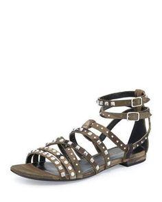 Saint Laurent Studded Flat Gladiator Sandal, Camo