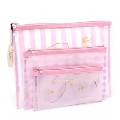Victoria's Secret Pink Stripe Makeup Bag Set Kawaii Accessories, Bag Accessories, Victoria Secrets, Cosmetic Bag Set, Vanity Bag, Small Case, Clear Bags, Cute Bags, Bag Organization