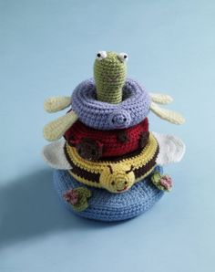 Image of Pond Friends Stacking Toy.  Free Lion Brand Pattern.