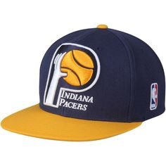 cheap for discount eb333 96663 Mitchell   Ness Indiana Pacers XL Logo Two Tone Snapback Hat - Navy Gold,