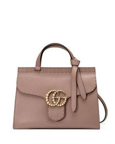 67c422ec24f5d9 GG Marmont Small Pearly Top-Handle Satchel Bag, Nude by Gucci at Neiman  Marcus