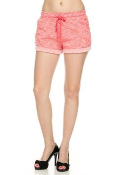 Trendy Slub Knit Drawstring Jogger Shorts