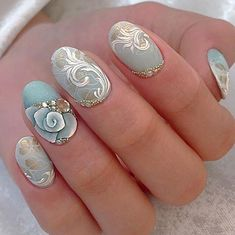 Cute nails, Delicate nails, Festive nails, Light blue nails, Manicure 2018, modeling nails, Monogram nails, Nails trends 2018