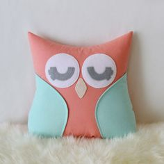 Mint and coral owl pillow - Owl pillow - from ThatsSewPresh on