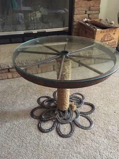 Horse shoe , wagon wheel table. Extreme metal works