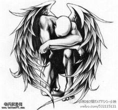 Fallen Angel Tattoo manuscript pattern