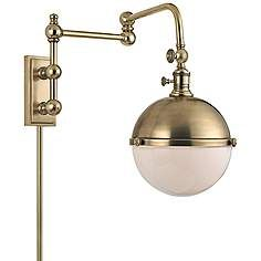"Hudson Valley Stanley Aged Brass 17 1/2"" High Wall Lamp"