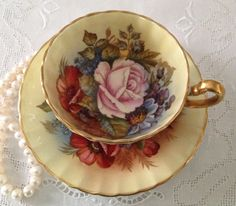 Hand Painted & Signed Aynsley China Tea Cup by TheEclecticAvenue, $174.99