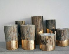 Gold Dipped Log Candle Holders By Nic Heart