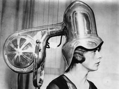 In 1935, this head-shaped drying device took a hair fashion show by storm in London. Kinda like the ultimate suit of armor for a bad hair day.  - GoodHousekeeping.com