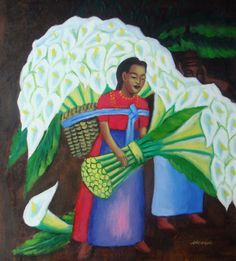 Mexican Art   FLOWER VENDOR MEXICAN ART DIEGO RIVERA OIL PAINTING